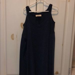 purple/navy dress with cut outs on shoulders